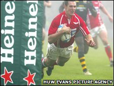 Dafydd James crosses for a Scarlets try against Wasps in a past Heineken Cup match