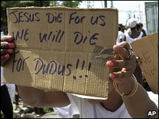 "Jamaicans rally in support of Christopher ""Dudus"" Coke (20 May)"