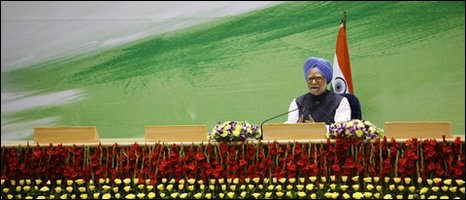 Indian Prime Minister Manmohan Singh speaks at a rare news conference in New Delhi, India, Monday, May 24, 2010.