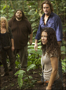 Claire, Hurley, Sawyer and Kate (front) in Lost