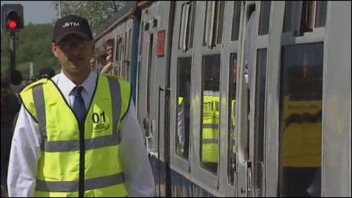 Slam-door train on the Lymington Branch Line