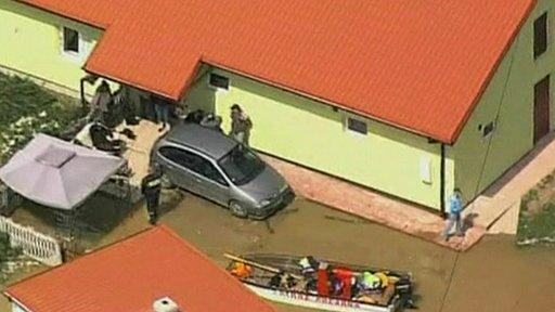 Flood water reaches a Polish house