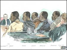 A courtroom sketch of the five suspected Somali pirates attending a hearing in a Rotterdam court on 18 May 2010. 