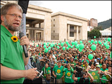 Antanas Mockus during an election campaign rally
