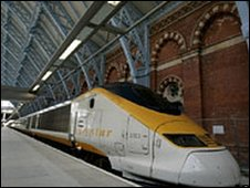 A Eurostar train at St Pancras