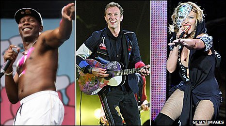 Left-right: Dizzee Rascal, Coldplay's Chris Martin, Kylie Minogue