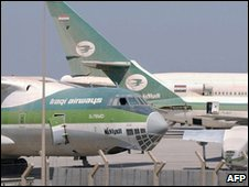 Iraqi Airways planes at Baghdad international airport (image from 2003)