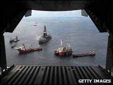 Ultra-deepwater rigs and other equipment being assembled at the oil spill site, 21 May