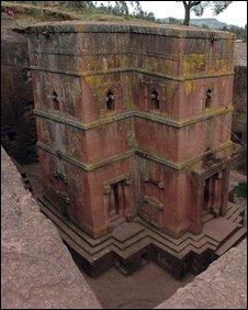 Rock church in Lalibela, Ethiopia
