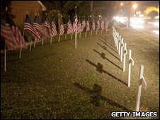 Crosses and flags marking victims of the Fort Hood shooting, November 2009