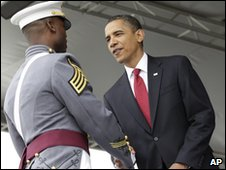 Barack Obama meets a graduate at West Point, 22 May