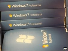 Boxs of Microsoft Windows 7 operating system