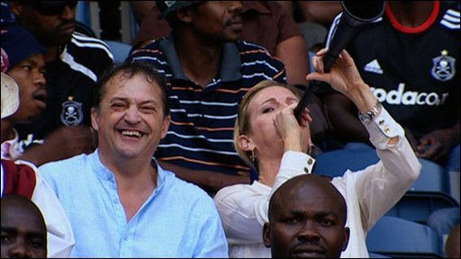 Gabby Logan and Gary Mabbutt in the crowd