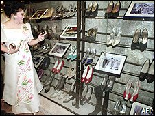 Imelda Marcos at the Marikina Shoe Museum in Manila