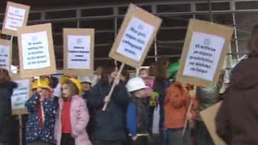 Protestors outside Senedd
