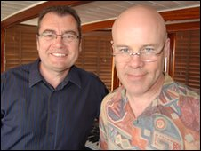 BBC Suffolk's Stephen Foster with Thomas Dolby