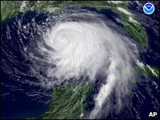 Hurricane Ike over the Gulf of Mexico, satellite image from September 2008