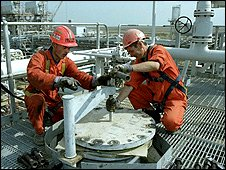 Gas workers in Kazakhstan (pic: KazMunaiGaz)