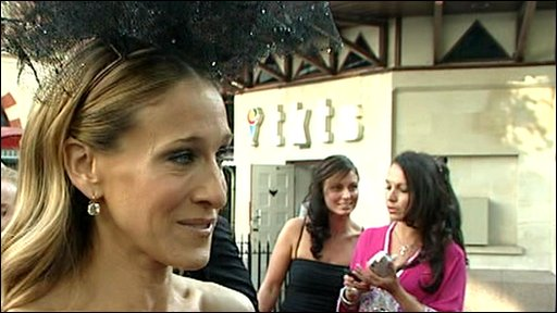 Sarah Jessica Parker wearing a Philip Treacy hat at the Sex and The City 2 premiere