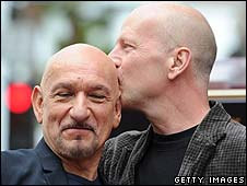 Sir Ben Kingsley with Bruce Willis (right)