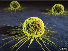 Computer artwork of three cancer cells