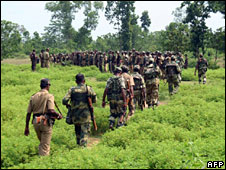 Security forces on an anti-Maoist operation in West Midnapore