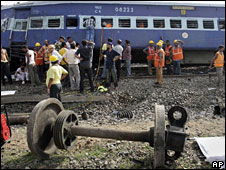 The site of the train crash in West Bengal on 28 May 2009