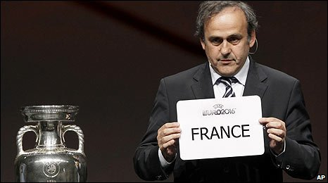 Uefa president Michel Platini announces France's victory