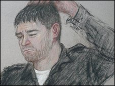Artist's impression of Stephen Griffiths at Bradford Magistrates' Court