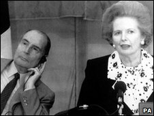 Francois Mitterand listens to a translation of Margaret Thatcher in 1990