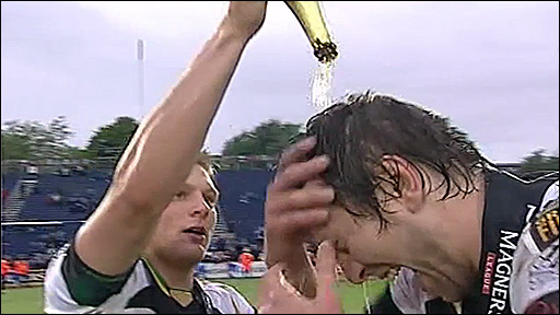 Dan Bigger gives Ryan Jones a cider shower