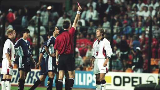 David Beckham is sent off against Argentina in 1998