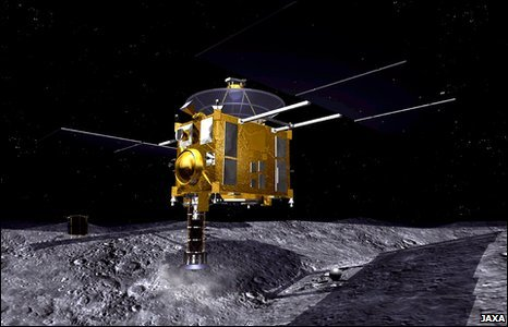 Artist's impression of touchdown on Itokawa (Jaxa)