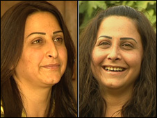 Haifa Shahin before (l) and after (r)