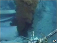 Video grab shows leaking BP wellhead