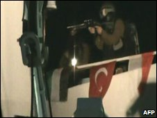 Israeli commandos storming the Gaza flotilla