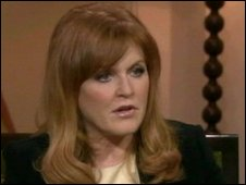 Sarah Ferguson during interview with Oprah Winfrey