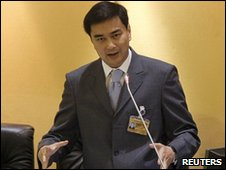 PM Abhisit Vejjajiva in parliament in Bangkok, Thailand (1 June 2010)