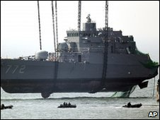 Cheonan warship lifted from the water of South Korea (24 April 2010)