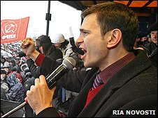 Ilya Yashin at rally in Kaliningrad, 31 Jan 10