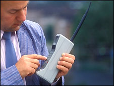 A 1980s mobile phone