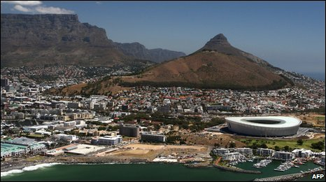 Aerial view of the Cape Town Stadium, which will host matches during the 2010 World Cup in South Africa