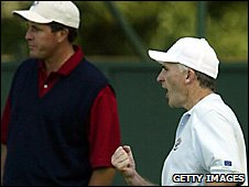 Phil Price celebrates his winner against Phil Mickelson in 2002