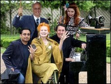 Left to right, Sanjeev Bhaskar, Dame Vivienne Westwood, Jools Holland, Paloma Faith, Roger Saul