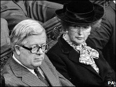 Margaret Thatcher and Geoffrey Howe in the House of Commons