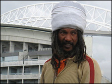 Changing room resident Lewellyn Wilters in front of Athlone Stadium, Cape Town