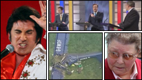 Clockwise from left: Elvis impersonator Mark Wright, first PM debate, Gillian Duffy, plane crash that injured Nigel Farage
