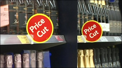 Discounted alcohol in a supermarket