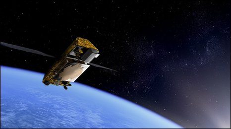 An artist&#039;s impression of an Iridium Next satellite in orbit