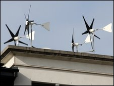 Rooftop wind energy system on the roof of a building (Picture: Laurence Coss)